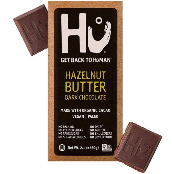 vegan gluten-free hazelnut butter dark chocolate bar Hu