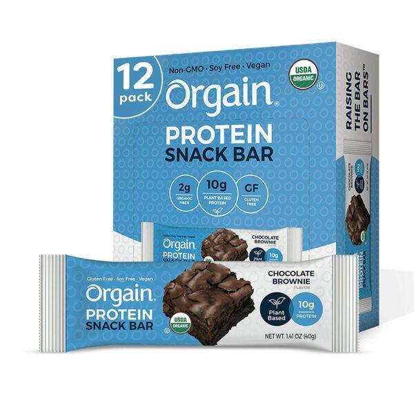 vegan gluten free orgain protein chocolate brownie snack bar