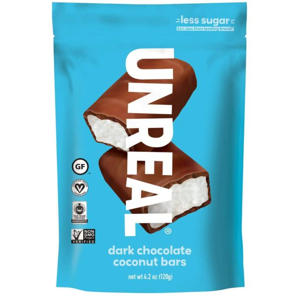 Unreal Dark Chocolate Coconut Bars vegan gluten free